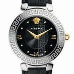 35mm Black Daphnis Versace Watch w/ Mother of Pearl Face