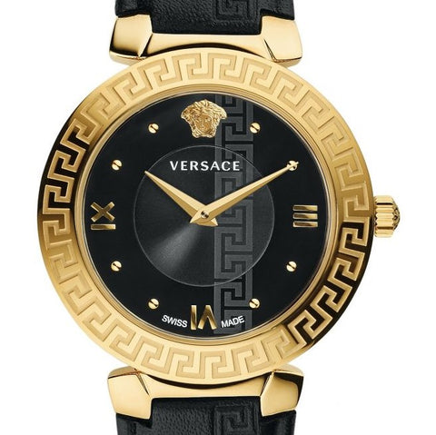 Daphnis Versace Watch w/ Black Calf Leather Strap
