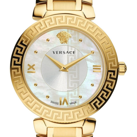 Daphnis Versace Yellow Gold Watch w/ Mother of Pearl Face