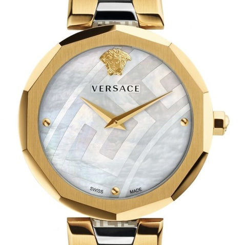36mm Versace Idyia Watch Two Tone w/ Mother of Pearl Face