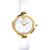 Idyia Diamond Mother of Pearl Dial Ladies Watch With White Band