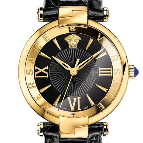 Black Revive Versace Watch w/ Black Crocodile Shiny Calf Strap