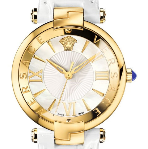 White Revive Versace Watch w/ White Crocodile Shiny Calf Strap