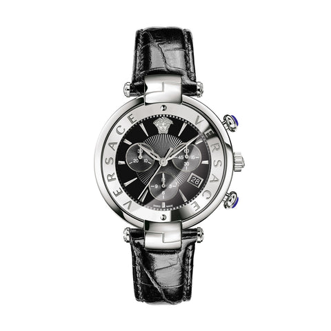 Black Revive Chrono Versace Watch w/ Black Crocodile Shiny Calf Strap