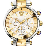 Two Tone Revive Chrono Versace Watch W/ Mother of Pearl Face