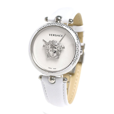 White Sunray Versace Palazzo Empire Stainless Steal Watch w/ 3d Medusa & White Calf Leather Strap