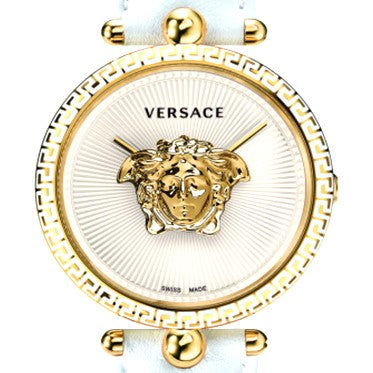 White Sunray Versace Palazzo Empire Yellow Gold Watch w/ 3D Medusa & Black Calf Leather Strap