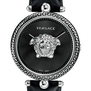 Black Sunray Versace Palazzo Empire Stainless Steal Watch w/ 3d Medusa & Black Calf Leather Strap