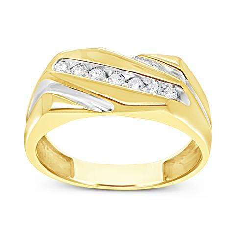 Diamond Ring .12 CTW Round Cut 10K Yellow Gold
