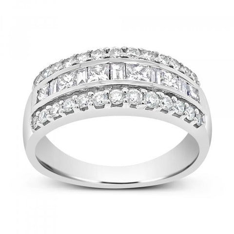 Diamond Band 1CT tw Princess Cut, Baguettes & Round Cut 14K White Gold