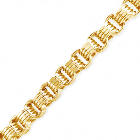 "10K Yellow Gold Hollow  Byzantine Turkish Link 22"" Necklace"