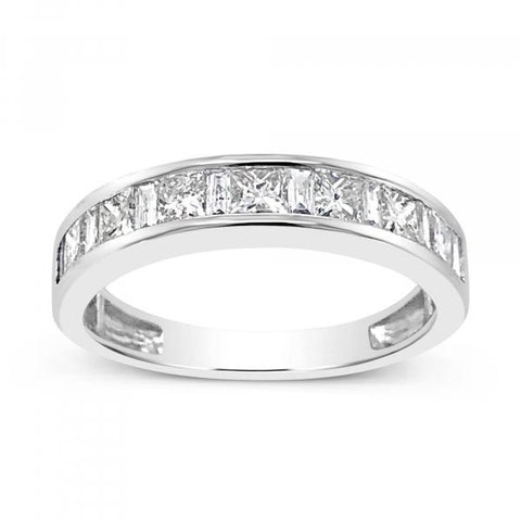 14K White Gold .91ct tw Round Cut Diamond Band
