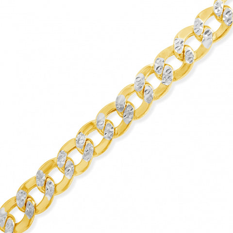 "10K Yellow Gold Hollow  Pave Two Tone 22"" Cuban Link Chain"