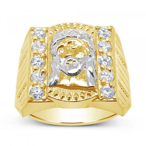 10K Yellow Gold Men's Jesus Face w/ CZ's