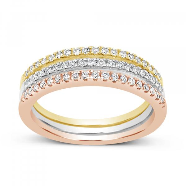 3-PIECE DIAMOND FASHION BANDS .33 CTW ROUND CUT 14K YELLOW,WHITE, & ROSE GOLD