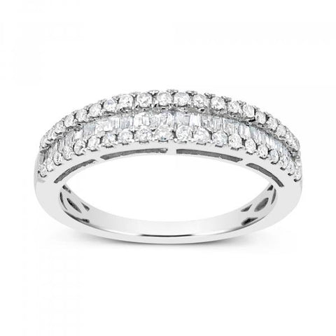 Diamond Band .50CT tw Baguettes w/ Round Cut Diamonds 10K White Gold