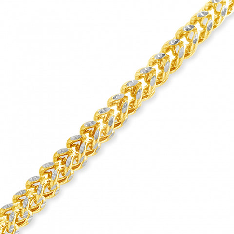 10K Yellow Gold Two-Tone Semi Solid  Franco Chain