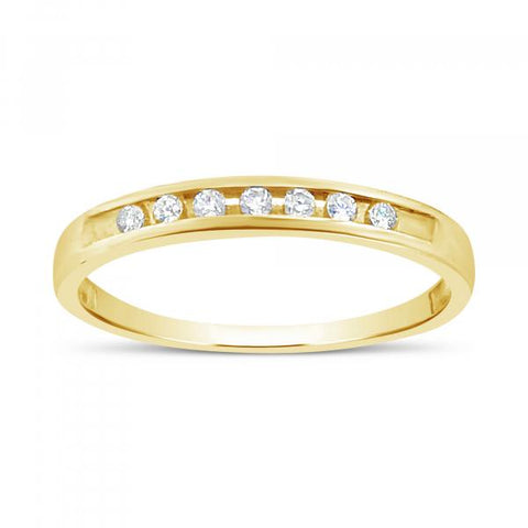 DIAMOND BAND .10 CTW ROUND CUT 14K YELLOW GOLD