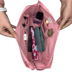 Purse Bling Exclusive Zippered Purse Organizer Insert - Pink with items