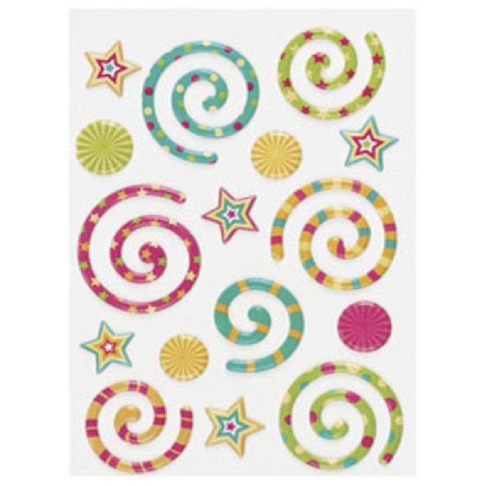 3-D Bright Stickers for tablets and laptops - Swirls and Stars