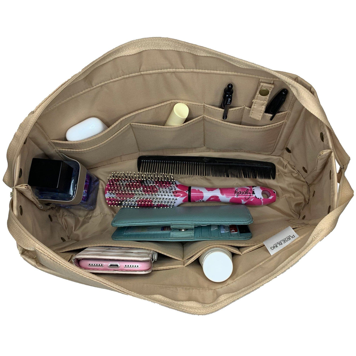 Purse Bling Exclusive Zippered Purse Organizer Insert - Extra Jumbo - Short