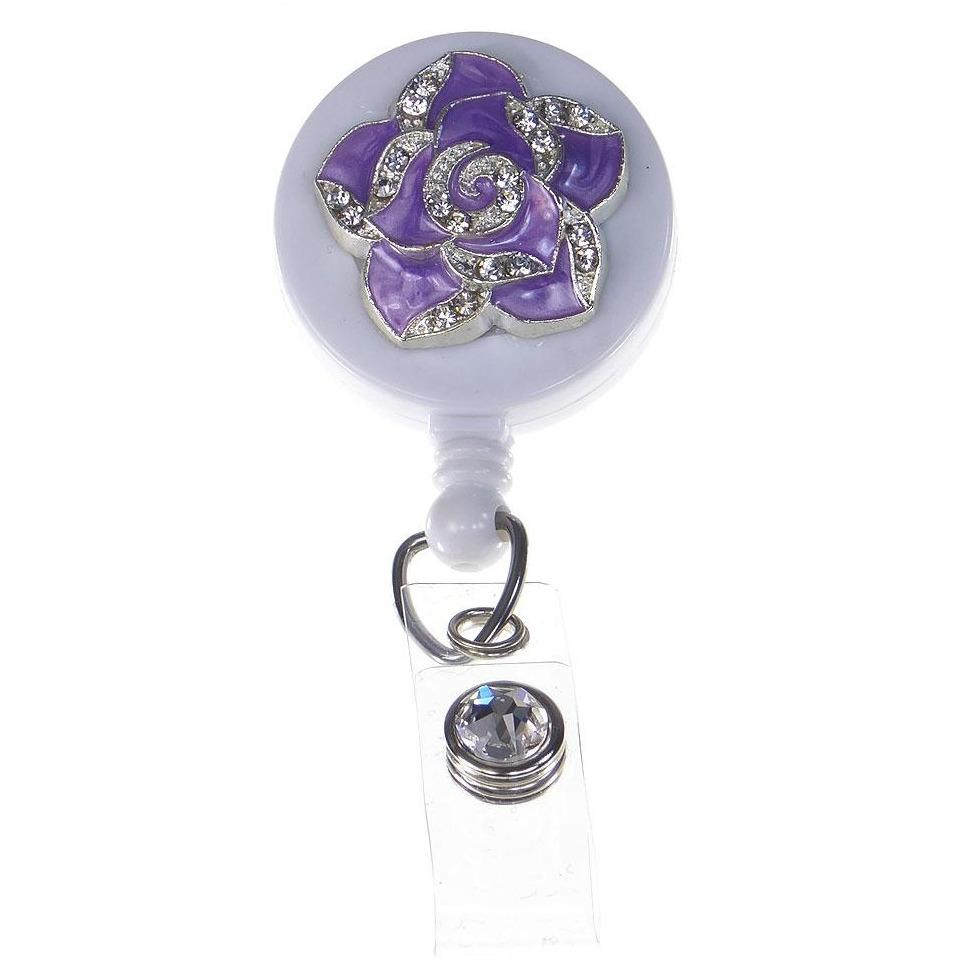Badge Blooms ID Badge Reel - Bling - Mini Purple Petal