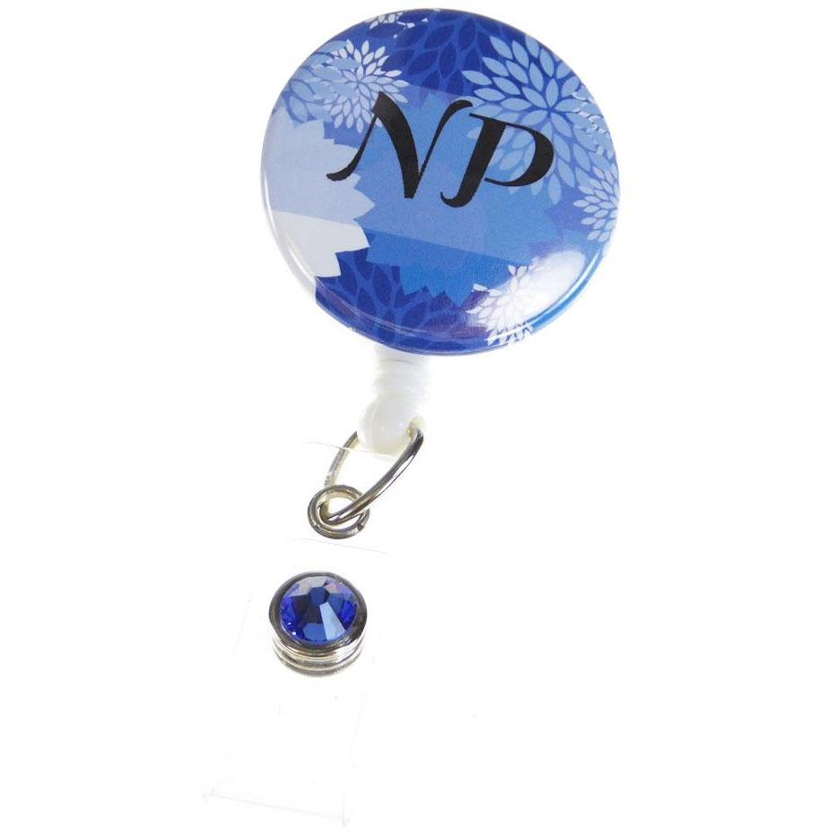 Badge Blooms ID Badge Reel - NP Button - Cobalt