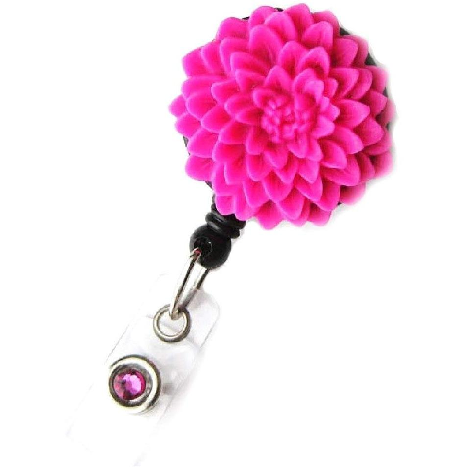 Badge Blooms ID Badge Reel - Flower - Punch Pink