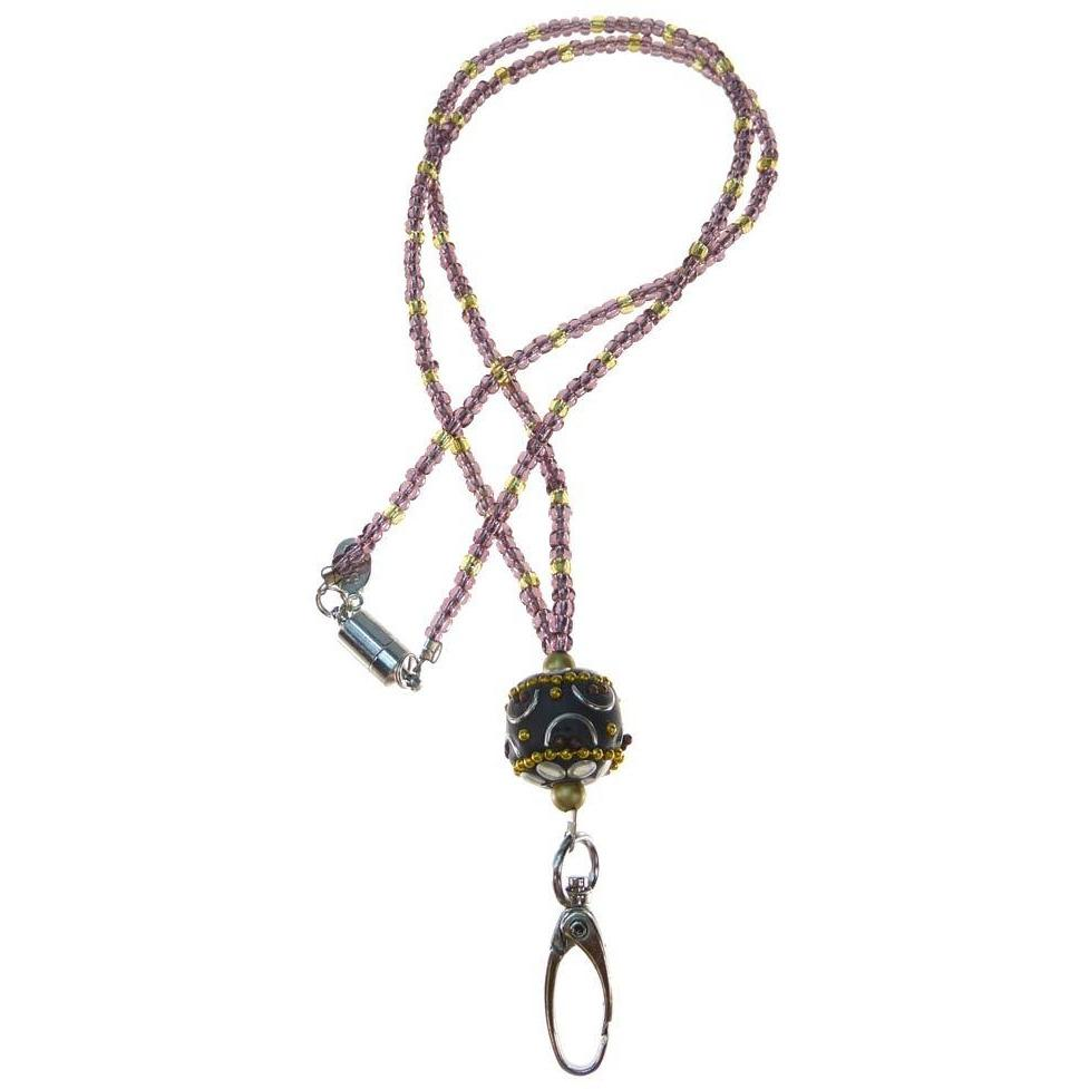 Beaded Breakaway Beaded ID Necklace - Purple Haze