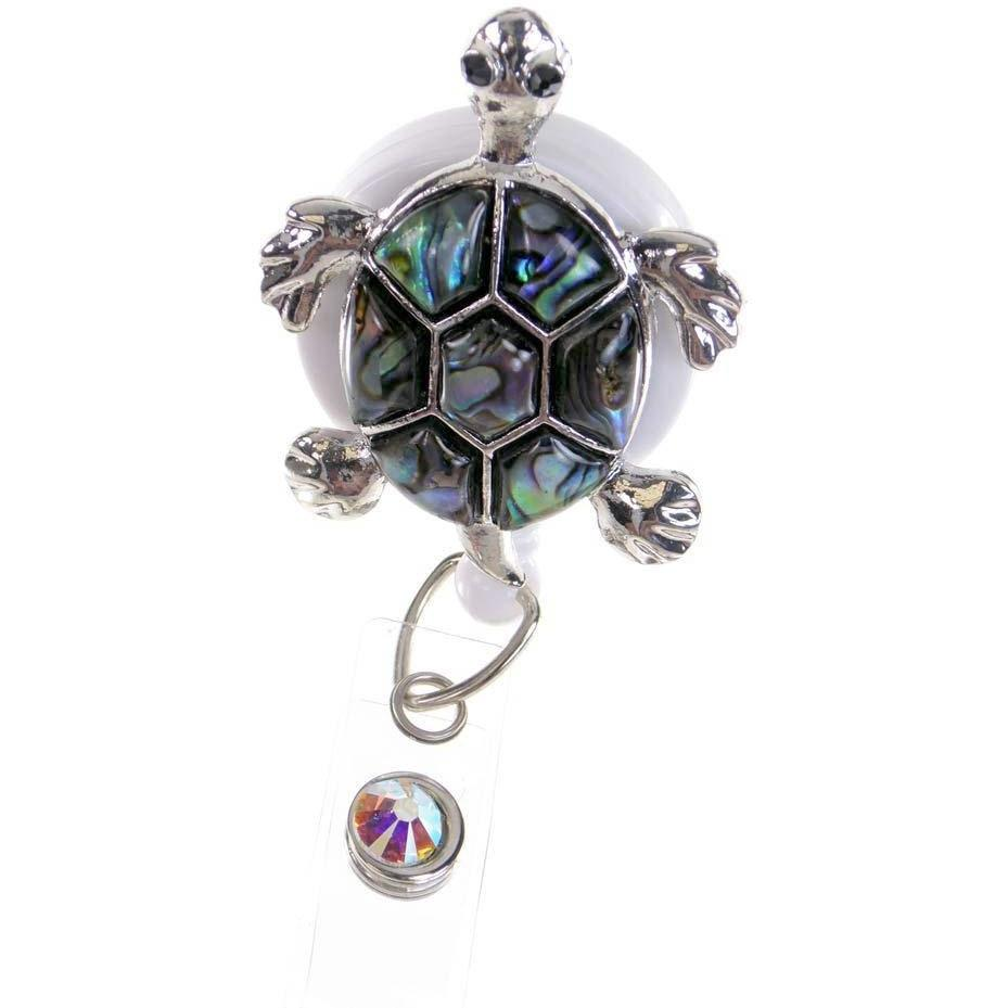 Badge Blooms ID Badge Reel - Bling - Large Abalone Tortoise