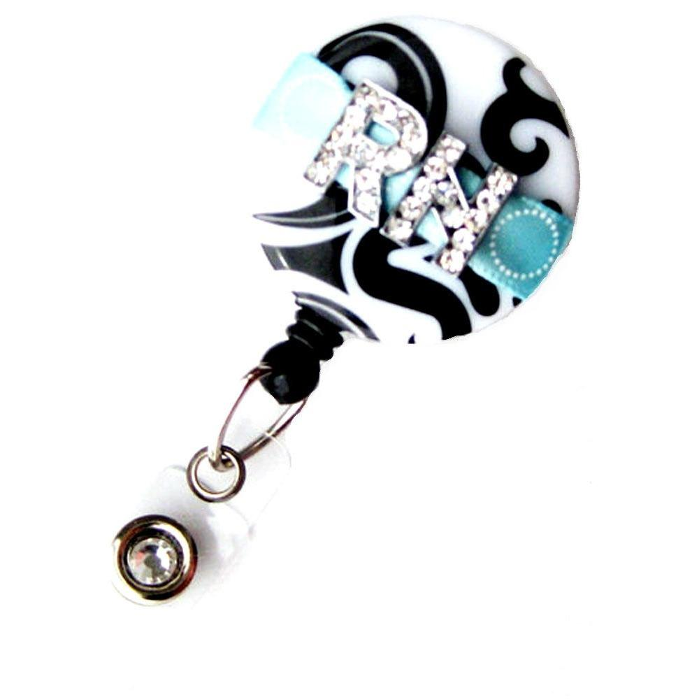 Badge Blooms ID Badge Reel - RN - Damask - Aqua
