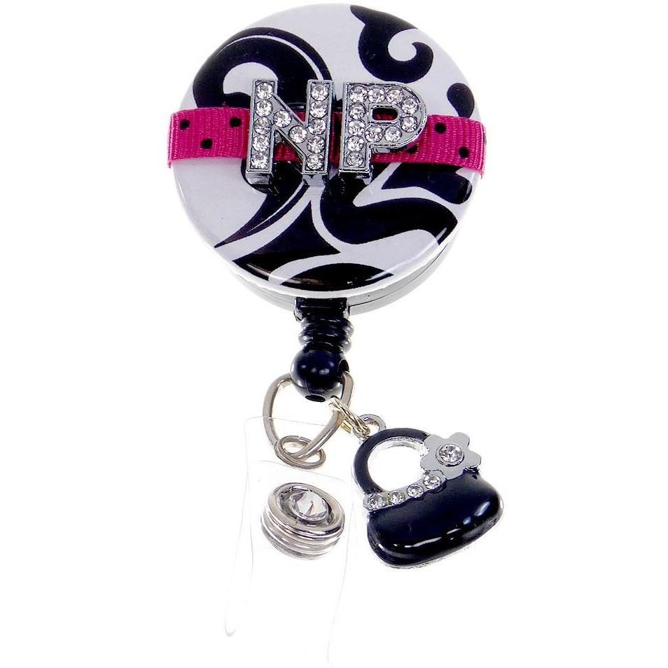 Badge Blooms ID Badge Reel - Bling - Nurse Practitioner Hot Pink with Purse