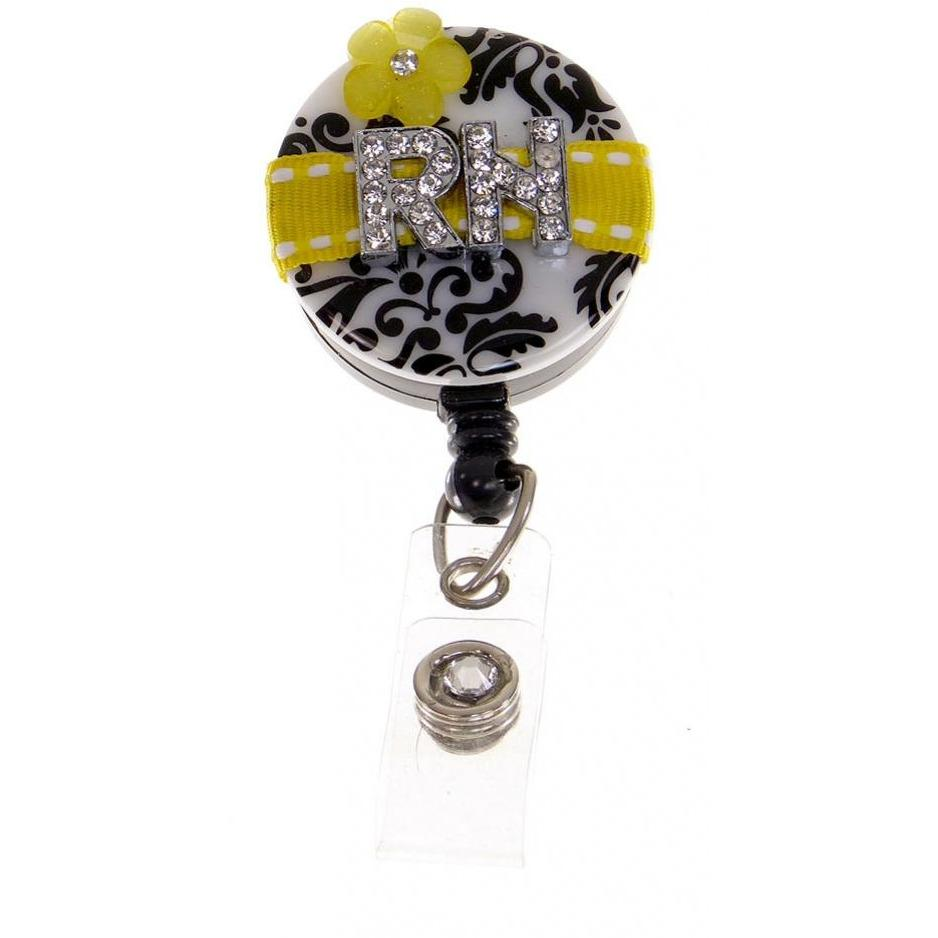 Badge Blooms ID Badge Reel - RN - Damask - Yellow Flower