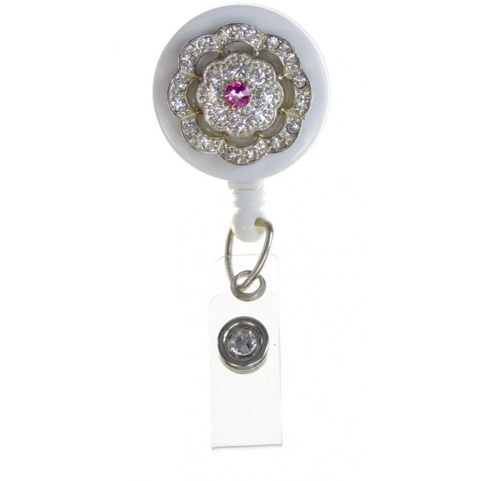 Badge Blooms ID Badge Reel - Bling on White - Pink Center