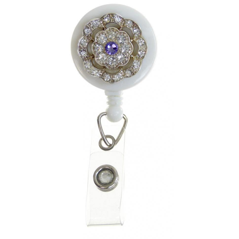 Badge Blooms ID Badge Reel - Bling on White - Violet Center