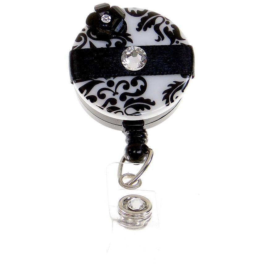 Badge Blooms ID Badge Reel - Damask - Diva Bling