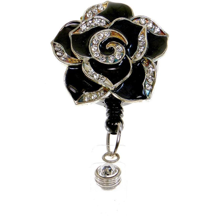 Badge Blooms ID Badge Reel - Bling - Black Petal Large