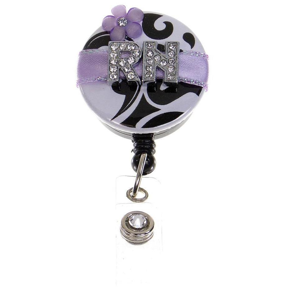 Badge Blooms ID Badge Reel - RN - Damask - Lovely Lavender with flower