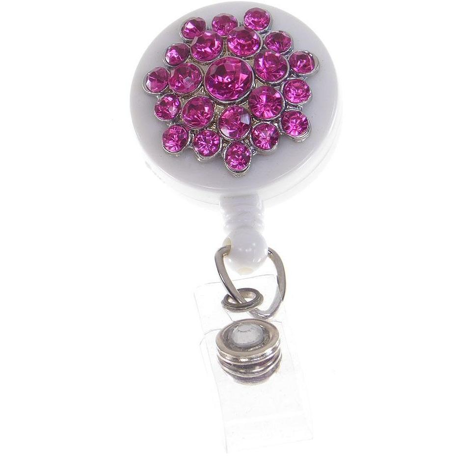 Badge Blooms ID Badge Reel - Bling - Raspberry