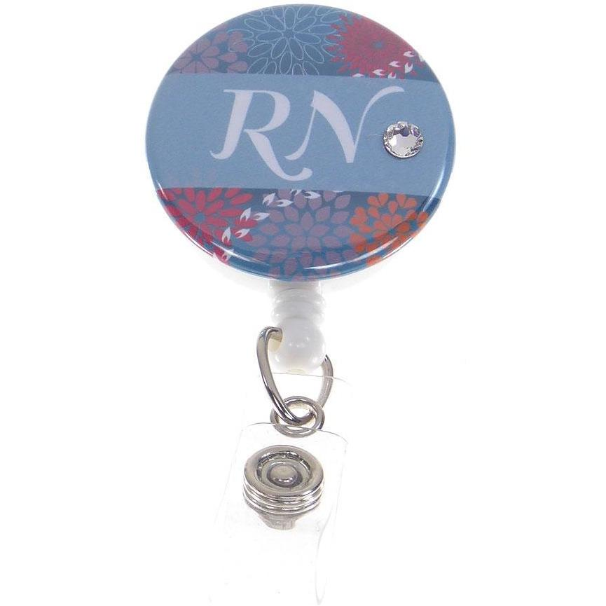 Badge Blooms ID Badge Reel - RN Button - Elegant Floral