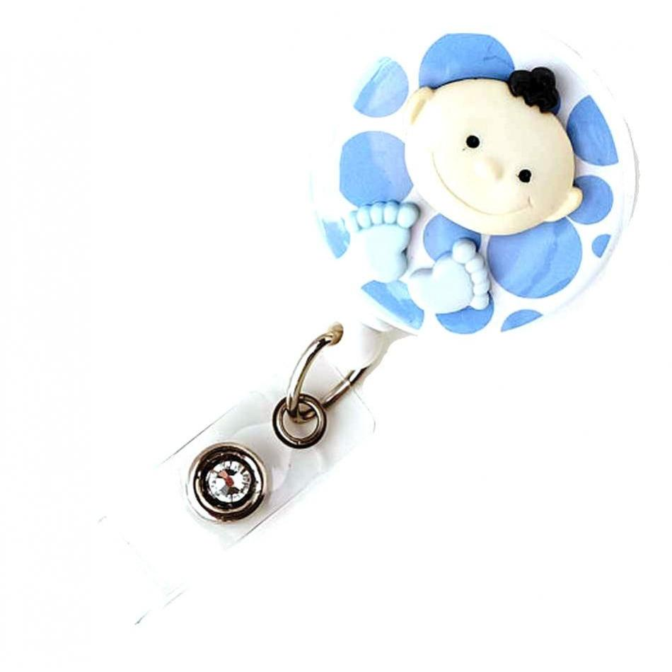 Badge Blooms ID Badge Reel - Big Feet Baby - Boy