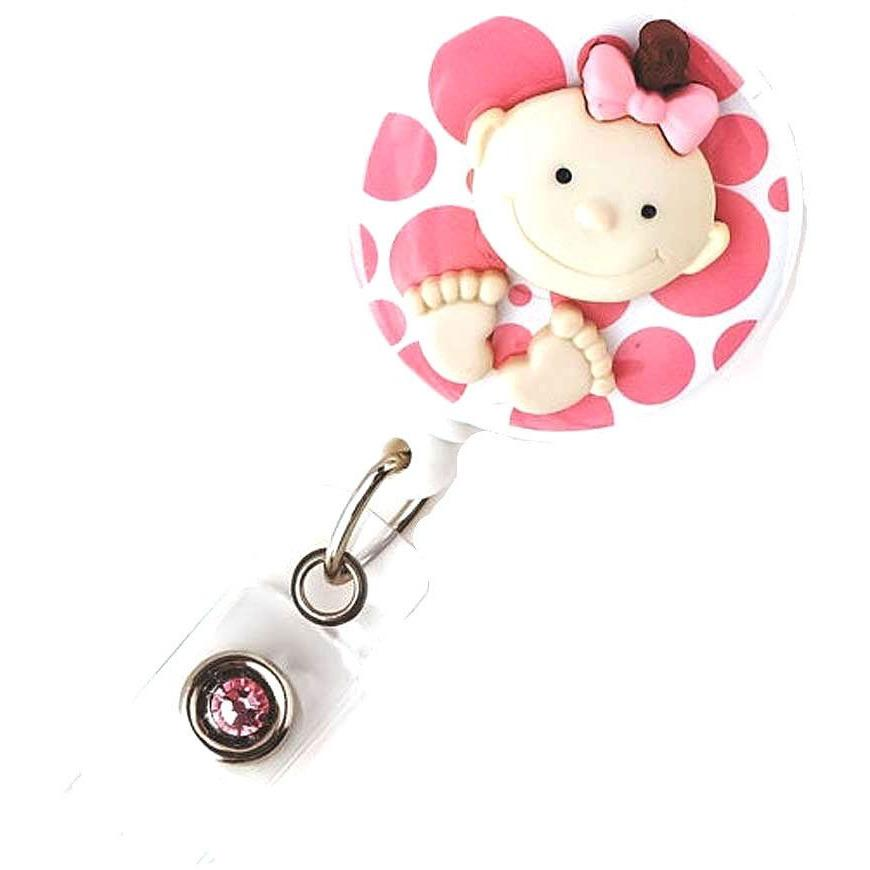 Badge Blooms ID Badge Reel - Big Feet Baby - Girl