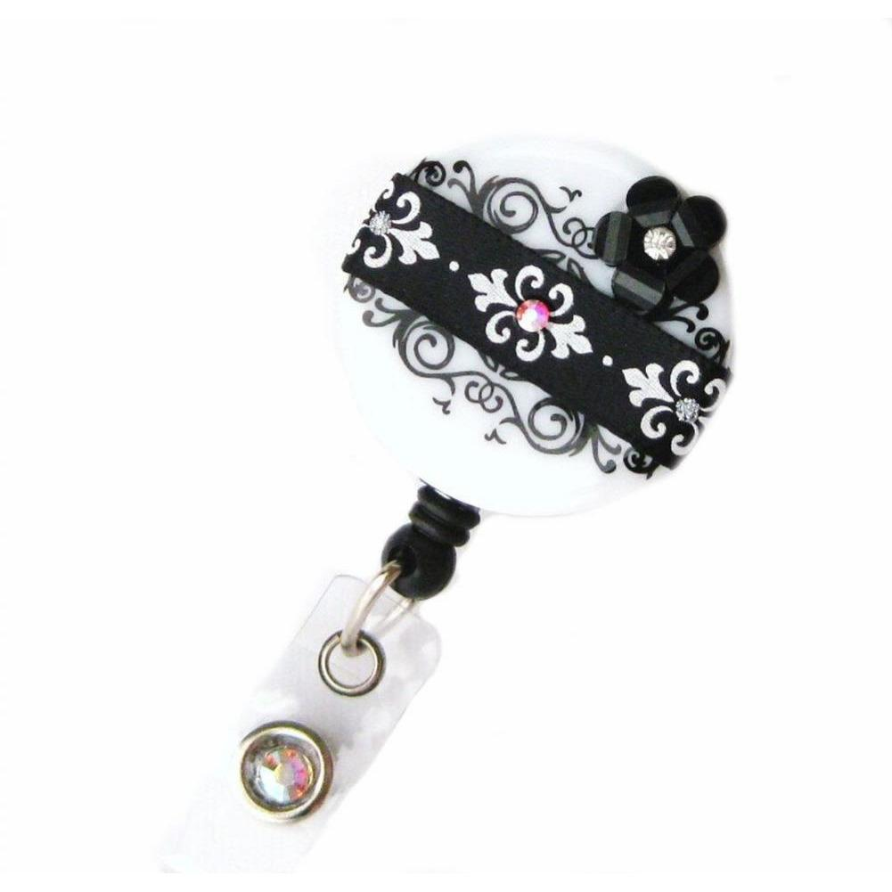 Badge Blooms ID Badge Reel - Damask - Black Chic Blossom