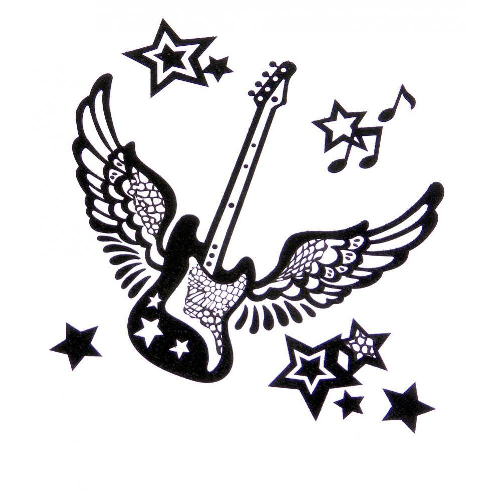 Black Glitter Stickers for laptops and netbooks - Rock Star