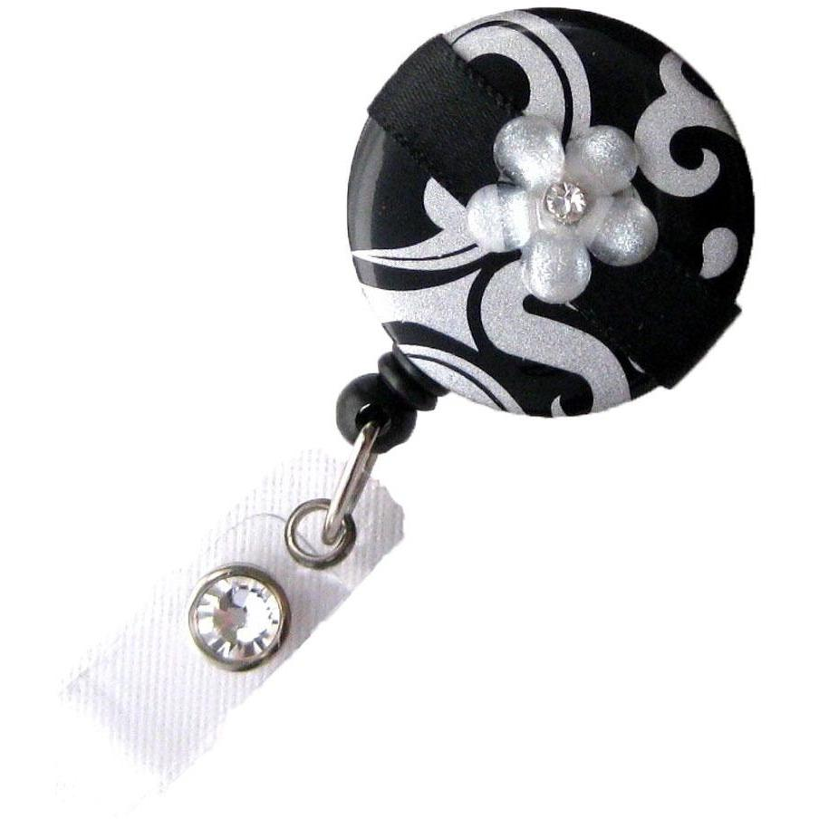 Badge Blooms ID Badge Reel - Damask - Black Silver Blossom