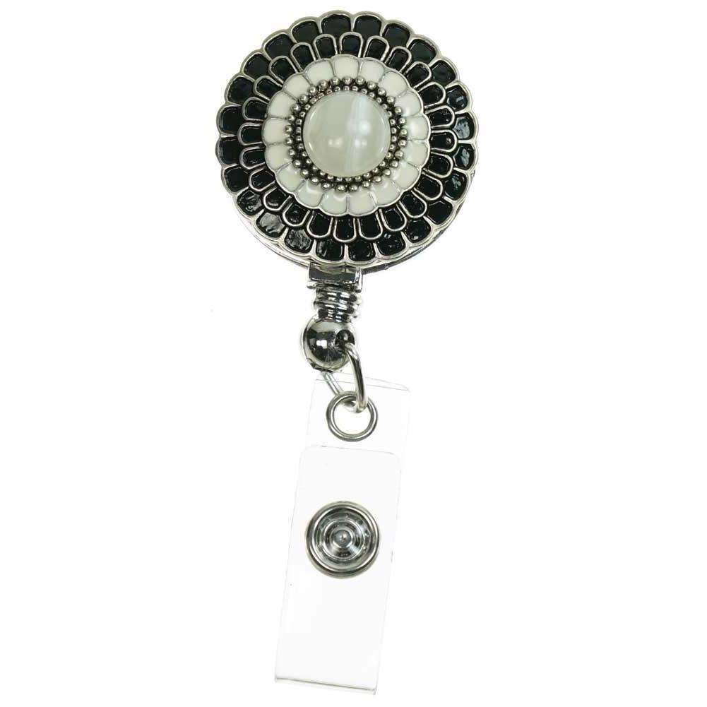 Black and Ivory ID Badge Reel - Elegant Flower