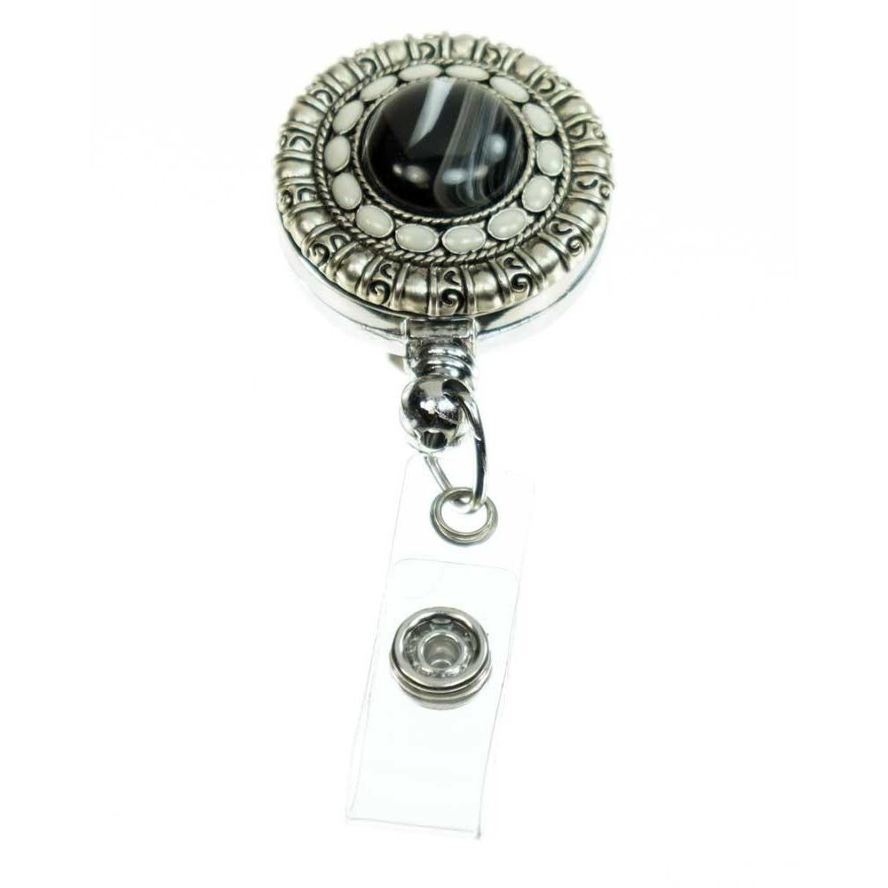 Black and Ivory ID Badge Reel - Ebony Elegance