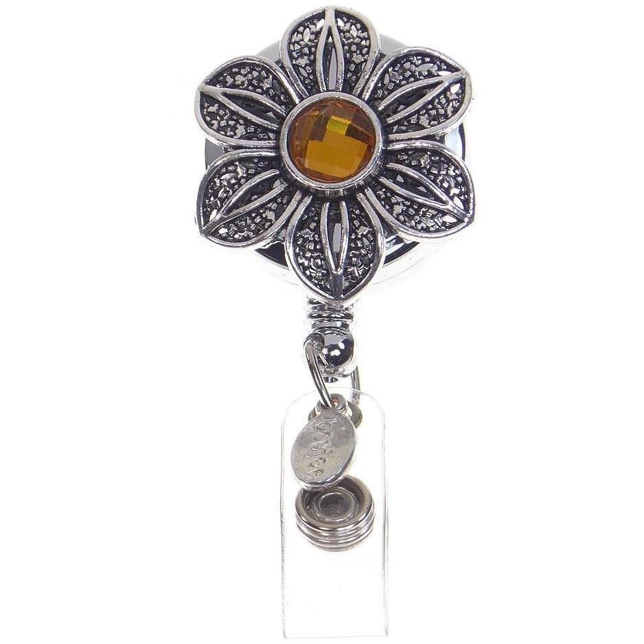 Vintage Flower ID Badge Reel by BooJee