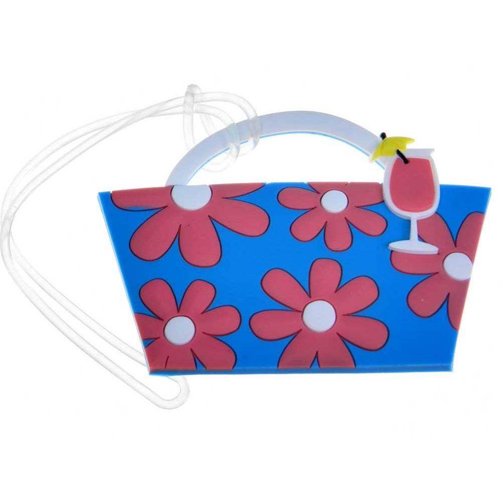 Tote Bag Luggage Tag - Blue with Pink Flowers