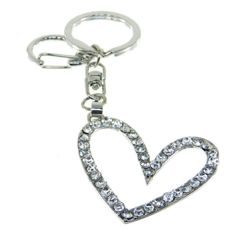 Purse Charm-Key Chain - Rhinestone Open Heart - Clear Crystals